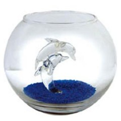 Fish bowl-twin dolphin-featured aqaurium