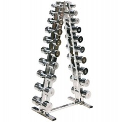 CHROME DUMBBELL WITH RACK_CD & RACK
