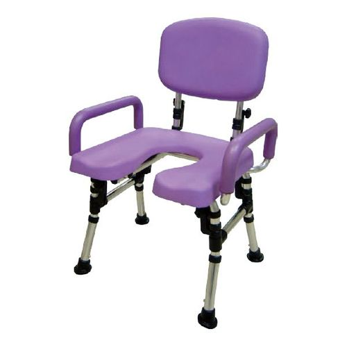 HT5080 Over-Toilet/Shower Chair, Foldable Back, Fixed Arms,