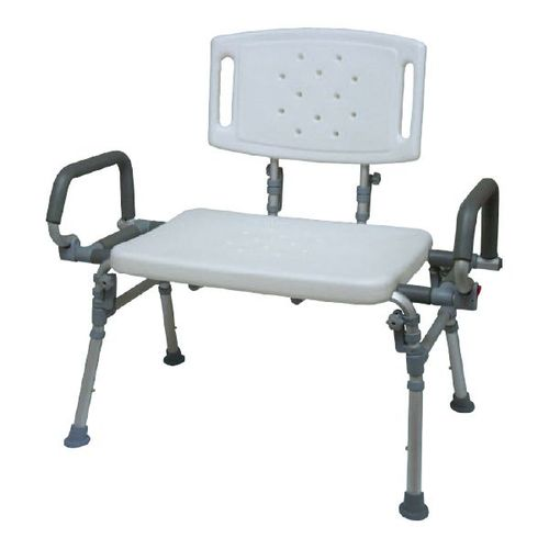 HS9E123L Foldable Shower Bench With Backrest Flip-up Arms