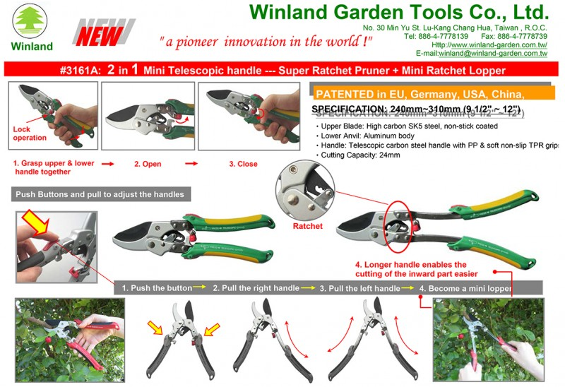 Winland #3161A  2 in 1 Mini Telescopic handle --- Super Ratchet Pruner + Mini Ratchet Lopper (1)