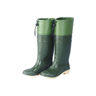 TS-9162-Two-color-rain-boots-with--leather-stitched-(green)