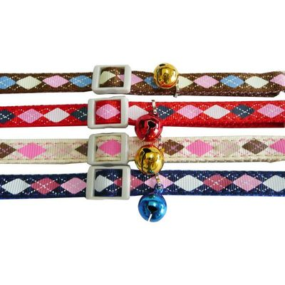 Diamond Check Collar, Adjustable collar, Cat collar with bell