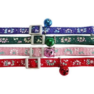 Vibrant Flower Collar, Cat collar, Adjustable collar with bell