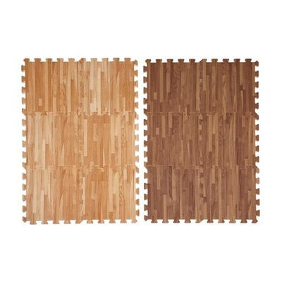 wood printed interlock mat