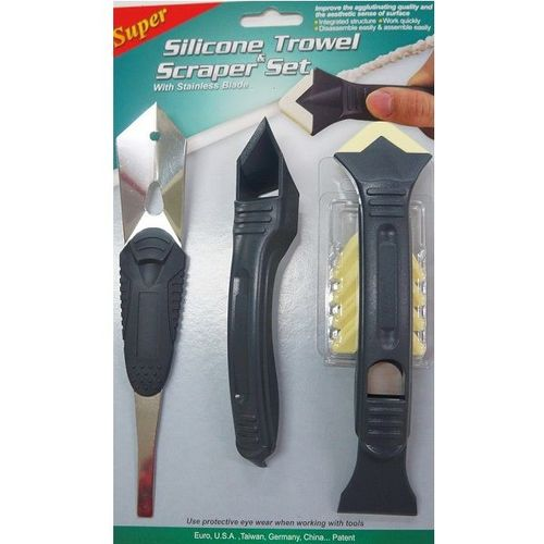 PW-133  SILICONE TROWEL&SCRAPER SET WITH STAINLESS BLADE