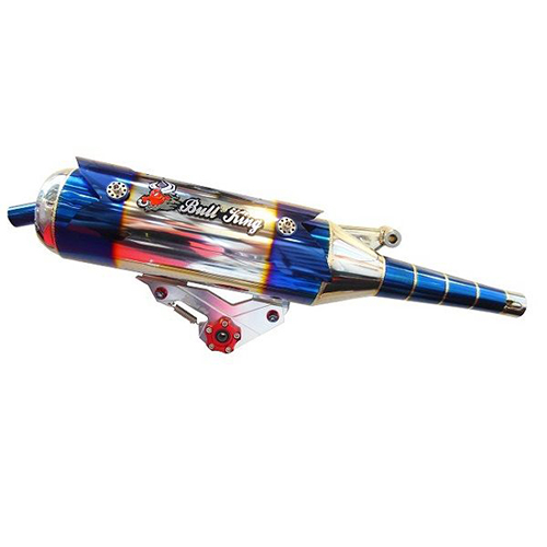 Bull-king  CNC tripod diffusion appearance Gem Blue stainless exhaust pipe