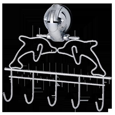 Dolphin Hanger- 5 Hooks w/ Suction Pad - C502003