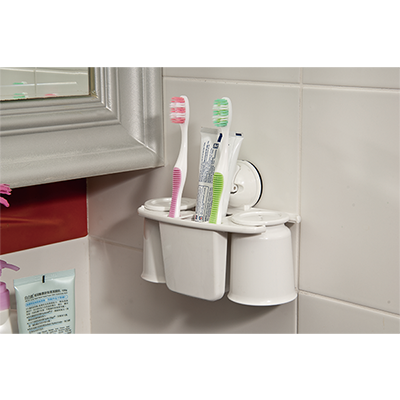 Toothbrush / 2 Cups Holder w/ Suction Pad - C509003