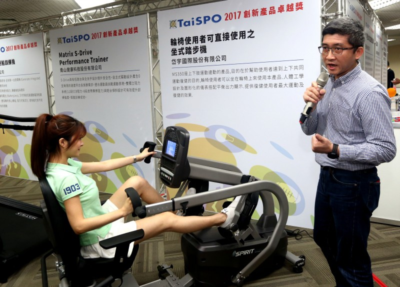 圖3:岱宇國際開發復健型健身器材,圖為輪椅使用者可直接使用之坐式踏步機
